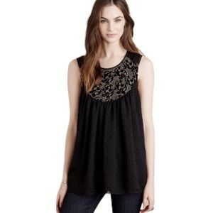 Anthropologie Mari Tank Black Gold Embroidered